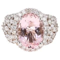 7.25 Carat Pink Morganite Diamond 18 Karat White Gold Bridal Ring