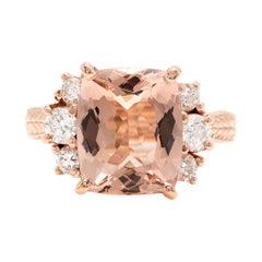7.25 Carats Natural Morganite and Diamond 14k Solid Rose Gold Ring