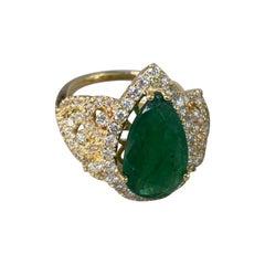 7.25 Ctw Emerald Yellow Gold Diamond Ring