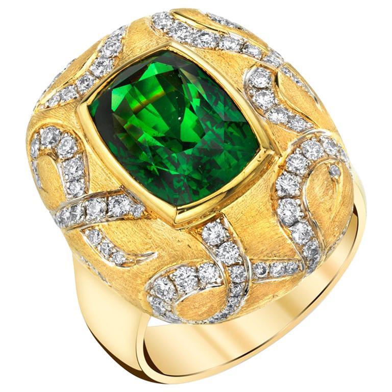 7.26 ct. Tsavorite Garnet, Diamond 18k Yellow Gold Bezel Set Handmade Dome Ring