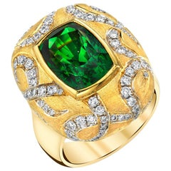 7.26 Carat Tsavorite Garnet Diamond 18k Yellow Gold Bezel Set Ring