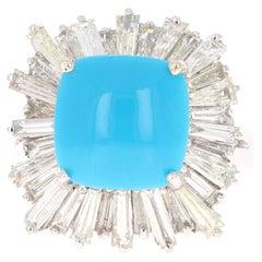 7.26 Carat Turquoise Diamond 14 Karat White Gold Cocktail Ring