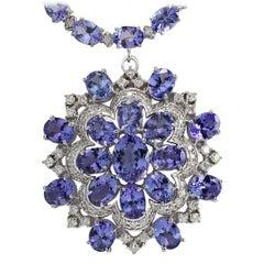 72.64 Carat Natural Tanzanite 18 Karat White Gold Diamond Necklace