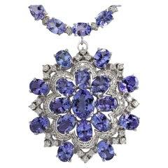 72.64 Carat Tanzanite 18 Karat White Gold Diamond Necklace