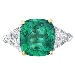 7.27 Carat Cushion Cut No Oil Green Emerald and Diamond Engagement Ring
