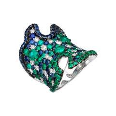 7.27 Carat Emerald Sapphire Diamond 18 Karat White Gold Cocktail Ring