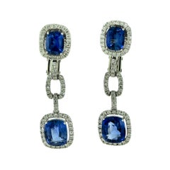 7.28 Carat Sapphire and Diamond White Gold Halo Drop Dangle Earrings