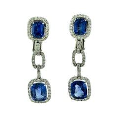 7.28 Carat Sapphire and Diamond White Gold Halo Drop Dangle Earrings
