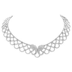 7.29 Carat Diamond and 18 Karat White Gold Bib Necklace