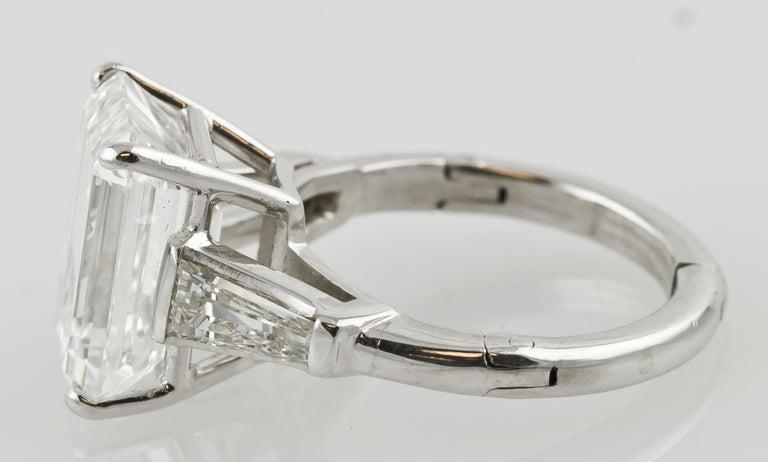 Women's 7.29 Carat Emerald-Cut Diamond Platinum Ring For Sale