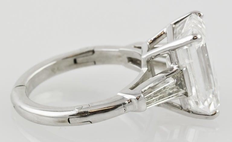 7.29 Carat Emerald-Cut Diamond Platinum Ring For Sale 3