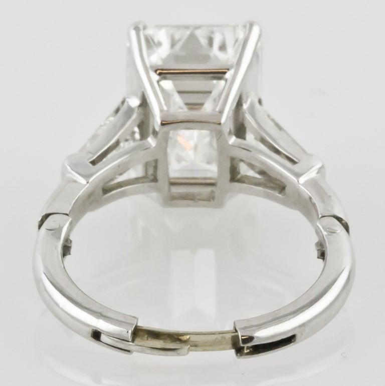 7.29 Carat Emerald-Cut Diamond Platinum Ring For Sale 4