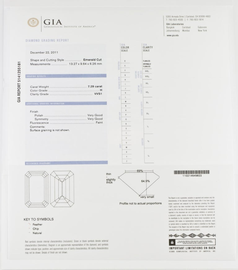 7.29 Carat Emerald-Cut Diamond Platinum Ring For Sale 5