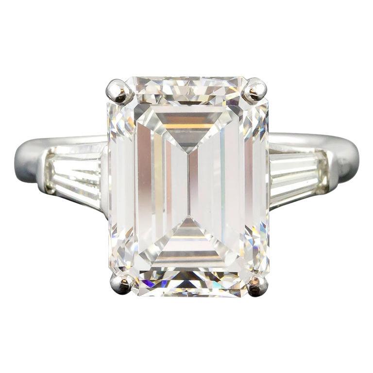7.29 Carat Emerald-Cut Diamond Platinum Ring For Sale