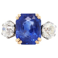 7.29 Carat Natural Unheated Sapphire and Old Cut Diamond Three-Stone Ring