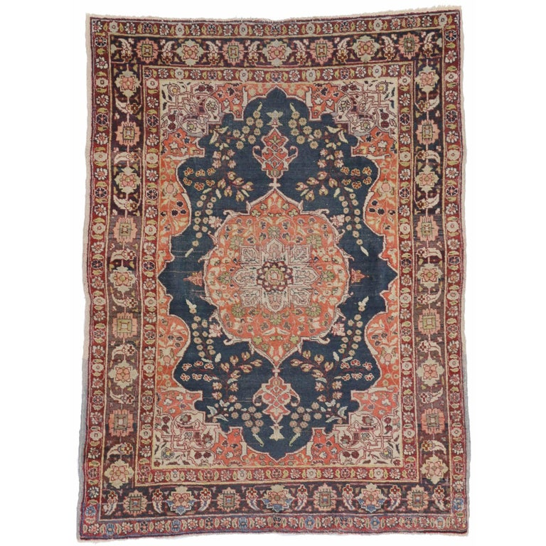Foyer Rugs For Sale : Antique persian tabriz rug with blue and orange accents