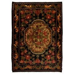 7.2x9.9 Ft Vintage Bessarabian Kilim. Floral Handwoven Wool Rug from Moldova
