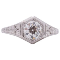.73 Carat Art Deco Diamond Platinum Engagement Ring