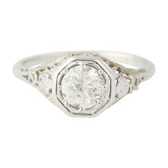 .73 Carat European Cut Diamond Art Deco Ring, 18 Karat Gold Vintage Solitaire