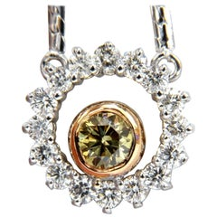 .73 Carat Fancy Color Natural Yellow Green Diamond Circle Eternity Necklace