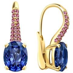 7.3 Carat Natural Cornflower Blue and Pink Sapphires 18 Karat Gold Earrings