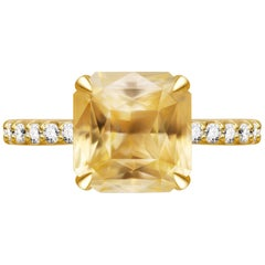 7.3 Carat Natural Untreated Yellow Sapphire Diamonds 18 Karat Yellow Gold Ring
