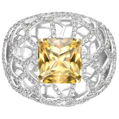 7.3 Carat Natural Yellow Sapphire Diamonds 18 Karat White Gold Cocktail Ring