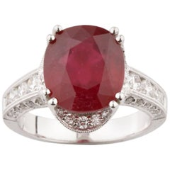 7.3 Carat Oval Ruby Solitaire Ring in White Gold with Diamond Accents