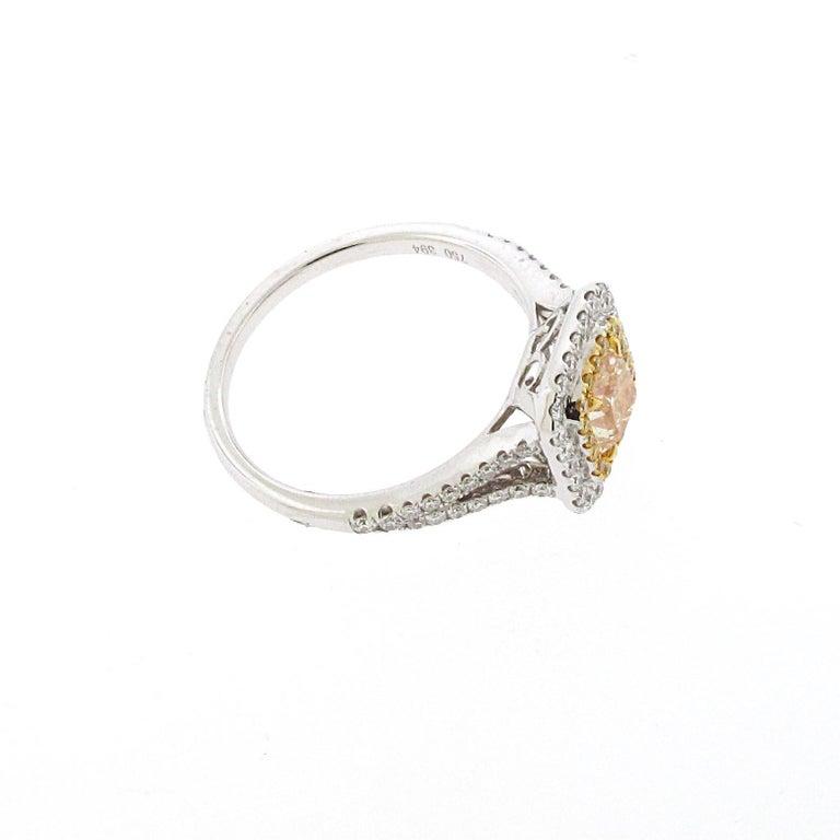Women's or Men's .73 Carat Radiant Cut Yellow Diamond Engagement Ring, 18 Karat White Gold For Sale