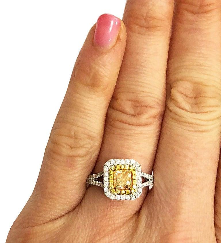 .73 Carat Radiant Cut Yellow Diamond Engagement Ring, 18 Karat White Gold For Sale 1