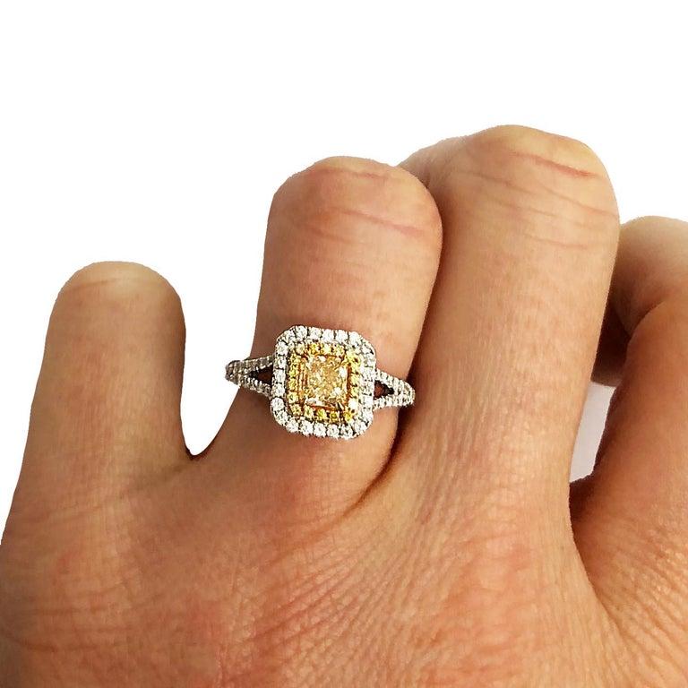 .73 Carat Radiant Cut Yellow Diamond Engagement Ring, 18 Karat White Gold For Sale 2