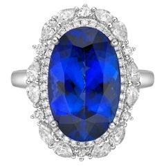7.3 Carat Tanzanite and White Diamond Ring in 18 Karat White Gold