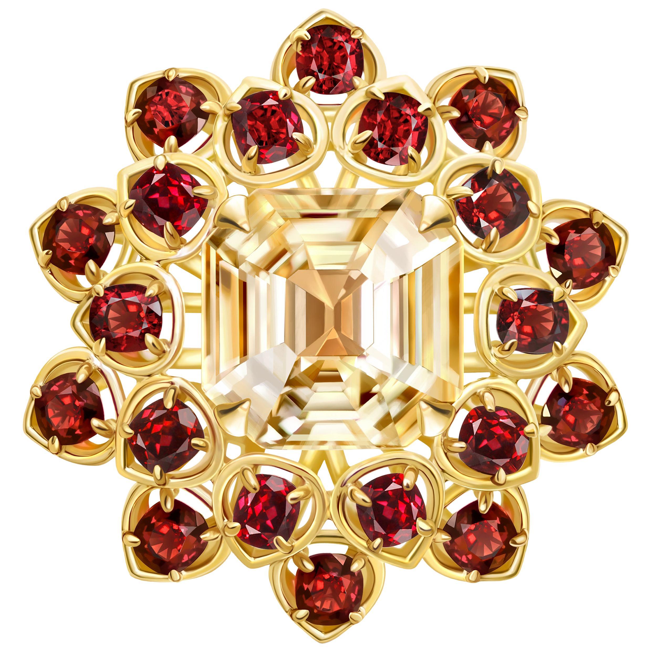 7.3 Carat Yellow Sapphire Red Spinel 18 Karat Yellow Gold Flower Cocktail Ring