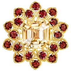 7.3 Carat Yellow Sapphire Red Spinel 18 Karat Yellow Gold Flower Cocktail Ring
