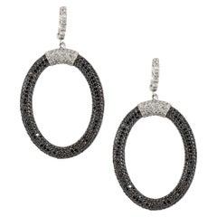 7.30 Carat Black and White Diamond Hoop Earrings 14 Karat in Stock