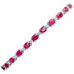 7.30 Carat Burma Rubies Diamond Tennis Bracelet