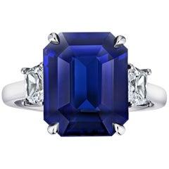 7.30 Carat Emerald Cut Blue Sapphire and Diamond Ring