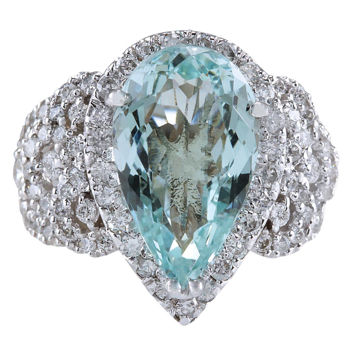 7.30 Carat Natural Aquamarine 18 Karat White Gold Diamond Ring
