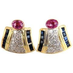 7.30 Carat Natural Pink Sapphire Diamond Clip Earrings 18 Karat Retro Prime