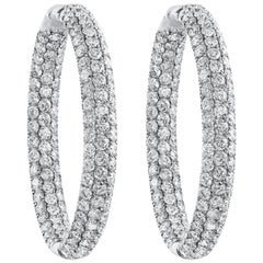 7.30 Carat Pave Diamond Hoop Earrings