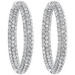 Roman Malakov, 7.30 Carat Pave Diamond Hoop Earrings