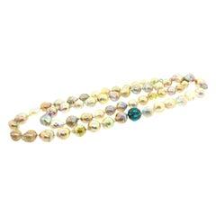 730 Carat Pearl, 2.72 Carat Turquoise, 0.86 Carat Diamond Necklace in Silver