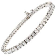 7.30 Carat Princess Cut Diamond Bracelet in 14k White Gold