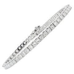7.30 Carat Princess Diamond Tennis Bracelet in 14 Karat White Gold