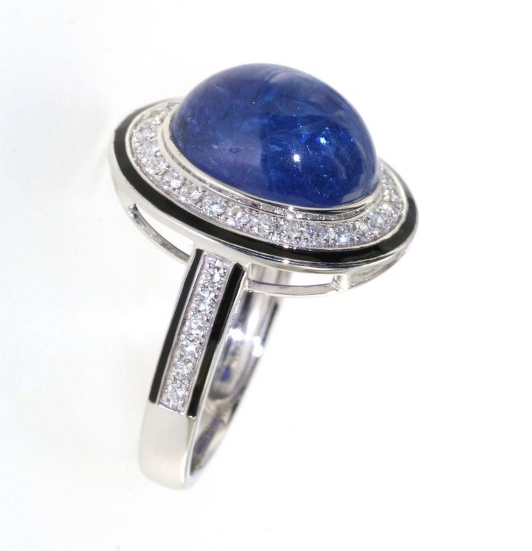 Modern 7.30 Carat Tanzanite Cabochon Diamond Enamel Ring in 18 Karat White Gold For Sale