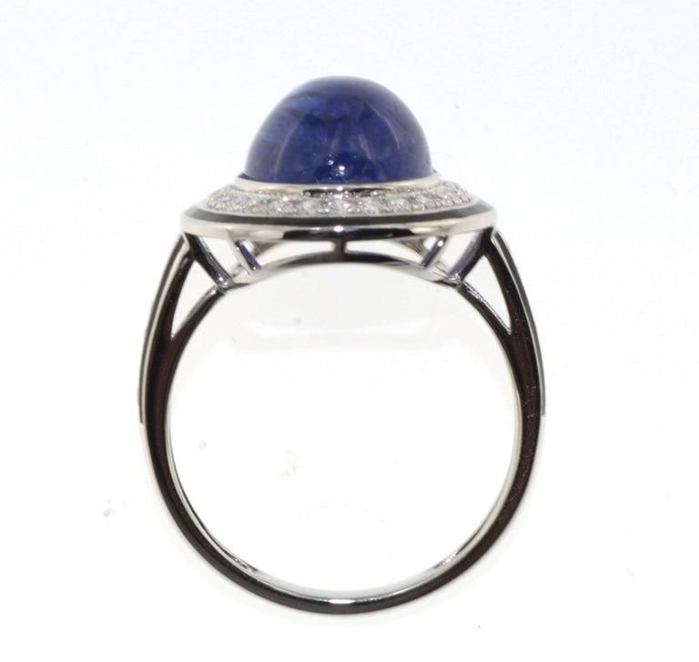 Women's 7.30 Carat Tanzanite Cabochon Diamond Enamel Ring in 18 Karat White Gold For Sale