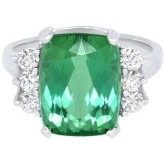 7.31 Carat Green Tourmaline and White Diamond Ring