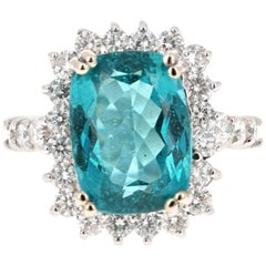 7.32 Carat Apatite Diamond 14 Karat White Gold Engagement Ring