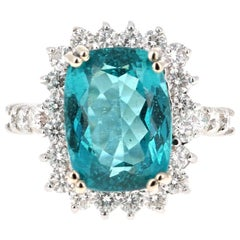 7.32 Carat Apatite Diamond Ring 14 Karat White Gold Ring