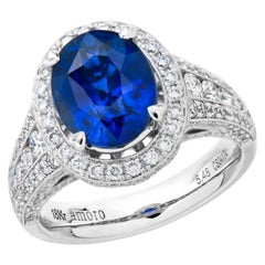 7.32 Carat Oval Cut Ceylon Sapphire and Diamond Ring in 18 Karat White Gold